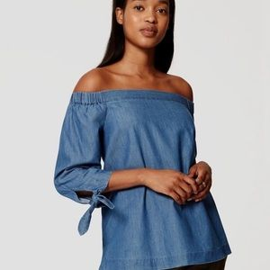 LOFT off the shoulder chambray top